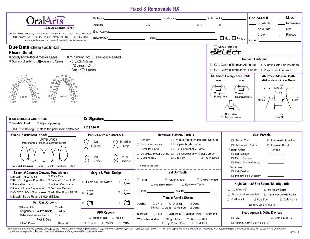 Pdfs Oral Arts Dental Laboratories Huntsville Al